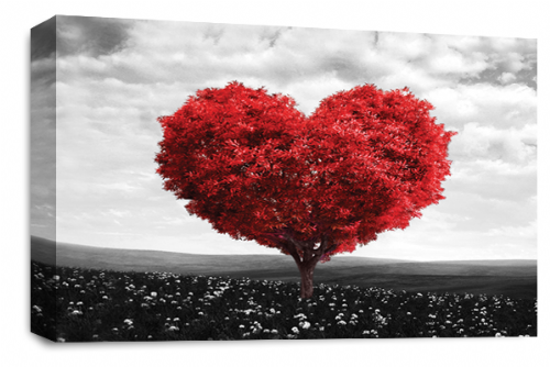 Love Heart Wall Art Picture Floral Tree Red White Grey Print